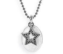 Medaillon MyName zum aufklappen Silber eismatt mit geschwärzten Sterneinhänger und Zirkoniapavée ohne Gravur LD MY 353 4