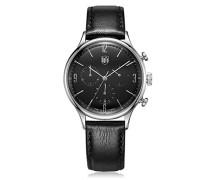 Chronograph Quarz Uhr mit Leder Armband DF-9002-01