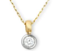 MC001PC 18 Karat (750) Gelb-/Weißgold Solitär Halskette mit IGI Zertifikat für Brillant 0