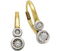 Ohrhänger 925 Sterling Silber teilvergoldet Diamant 0.08 ct weiß Rundschliff 317230001