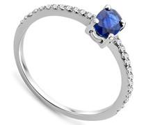 9 Karat (375) Weißgold Saphir Blau Diamant Verlobungsring SA986R