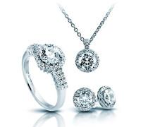 Schmuckset Halskette + Ohrringe + Ring Classic 4teiliges Set 925 Silber rhodiniert Zirkonia Brillantschliff weiß - 13/1269/1/917
