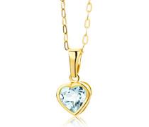 Kette - Halskette Gelbgold 9 Karat / 375 Gold Kette mit Herz Blauer Topas 45 cm