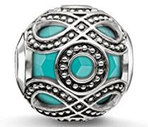 Bead Ethno Karma Beads 925 Sterling Silber geschwärzt imitierter Türkis K0209-878-17
