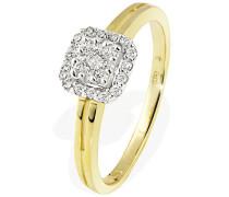 Ring 18 Karat 750 Gelbgold Glamourfassung 25 Diamanten 0
