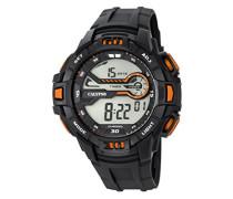 Digitale Armbanduhr mit LCD Dial Digital Display und schwarz Kunststoff Gurt k5695/7