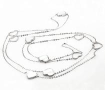 Damenkette Heart Glow 925 Sterlingsilber 5 Perlmutt weiß Herz