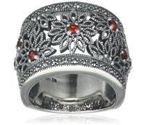 Ring 925 Silber vintage-oxidized Granat rot Markasit 50 (15.9) - L0122R/90/M2/50