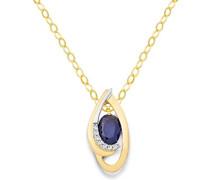 Kette - Halskette Bicolor Gelbgold/Weißgold 18 Karat/750 Gold Kette Blauer Saphir mit Diamant Brillianten 45 cm