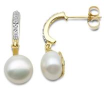 Ohrringe 9 Karat (375) Gelbgold Brillanten und Perlen SA915E