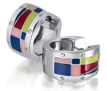 Creolen Multicolor Lack 925 Sterlingsilber 12 weiße Zirkonia Ohrringe Schmuck