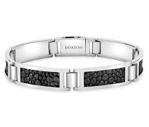 Sterling Silber Rechteck Glieder m.Schwarzem Leder eingelegtes Armband 21cm