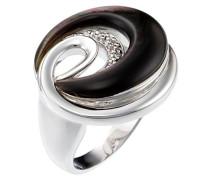Ring 925 Silber rhodiniert Zirkonia weiß Rundschliff Perlmutt
