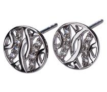 FINEEARRING 925 Sterling-Silber Silber Rundschliff transparent Cubic Zirconia