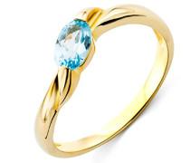Ring 9 Karat (375) Gelbgold mit Topas Blau