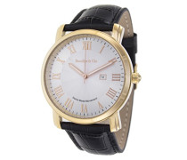 Quartz Armbanduhr von für Männer mit Original Schweizer Uhrwerk mit Weißem Zifferblatt Analoger Anzeige und Schwarzem Armband aus Leder Datumsanzeige BC15SA3