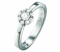 Ring 925 Sterling Silber rhodiniert Kristall Zirkonia Éphémère weiß