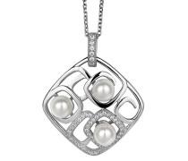 Anhänger mit Kette 925 Silber rhodiniert Perle Weiß - ZH-4846