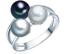 Ring Hochwertige Süßwasser-Zuchtperlen in ca. 6 mm Button grau/silbergrau/pfauenblau 925 Sterling Silber - Perlenring mit echten perlen Hellgrau/dunkelblau 60020094