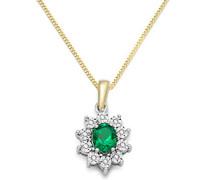 Halskette 9 Karat (375) Bicolor rhodiniert Smaragd grün