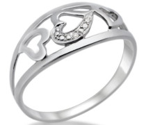 Ring 925 Sterling-Silber hochglanzpoliert Herzen mit Brillant 0