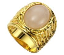 Damen-Ring Messing Rosenquarz Cabochon vergoldet
