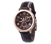 Cornwell Sweep Second Retrograde ES-8060-04 Armbanduhr mit Quarzuhrwerk, braunes Zifferblatt mit klassischer Analoganzeige