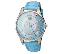 4411.7535 Quarz Schweizer Uhr mit Perlmutt Zifferblatt Analog-Anzeige und Blau Lederband