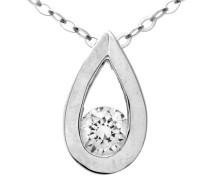 Halskette mit Tränen Anhänger 9 K Weißgold Diamant 0
