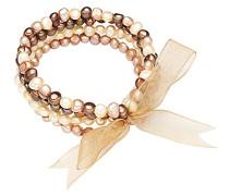 Classic Collection Armband elastisch Hochwertige Süßwasser-Zuchtperlen in ca. 4-6 mm Barock gold/elfenbein/tahitigrün Organza gold 19 cm 60200114