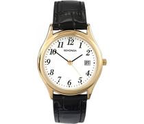 Armbanduhr mit weißem Zifferblatt Analog-Anzeige und schwarz Lederband 3474.27