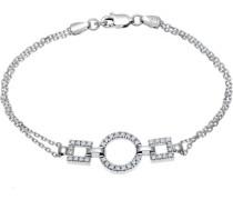 Halskette Sterling Silber Design in eckige runde Zirkonia 19 cm SBT1300 E