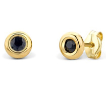 Ohrringe Gelbgold 14 Karat/585 Gold Ohrstecker Solitär Saphir
