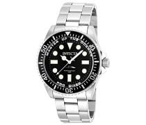20119 Pro Diver Uhr Edelstahl Quarz schwarzen Zifferblat