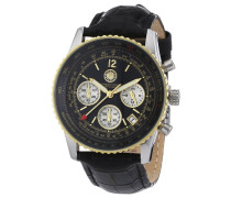 Armbanduhr XL Air Commander Chronograph Leder CD-AIRC-QZ-LT-STGD-BK