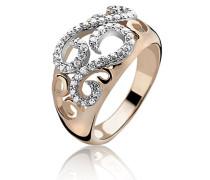 Ring Silber vergoldet Zirkonia weiß Brillantschliff