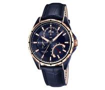 Armbanduhr mit Blau Zifferblatt Analog Display und Blau Lederband 18210/1