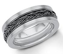 Ring Flechtmuster IP Grey Beschichtung Edelstahl