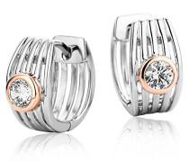 Kreolen Ohrringe 925 Sterling Silber Rundschliff Zirkonia Steinchen Silber und Rosé Vergoldet