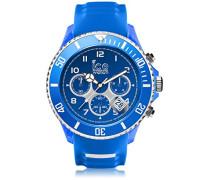 ICE sporty Blue White - Blaue Herrenuhr mit Silikonarmband - Chrono - 001340 (Extra Large)