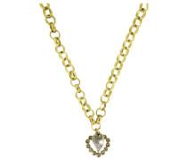 Halskette Messing Wiesn Vintage Herz gold 2598