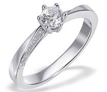 Ring Verlobungsring Lisa 585 Weißgold 17 Diamanten 0