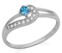 Ring 9 Karat (375) Weißgold Diamanten und Blau Topas 53 (16.9) SA930R3