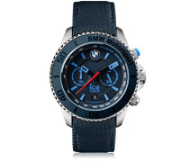 BMW Motorsport (steel) Dark & Light BE - Blaue Herrenuhr mit Lederarmband - 001125 (Extra Large)