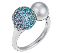 Ring 925 Sterling Silber rhodiniert Glas Zirkonia Réunion Blau