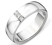 Ring Silberfarbig 925 Sterling Silber mit Rundschliff Zirkonia Steinchen