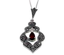 Halskette Sterling-Silber 925 mit Anhänger Markasit roter Stein, 45