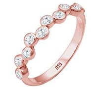 Premium Ring Bezel Kreis 925 Silber Zirkonia weiß Brillantschliff
