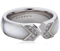 Damen-Ring Edelstahl Perlmutt Glaskristall weiß