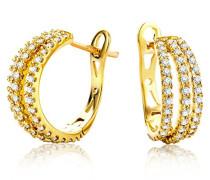 Ohrringe Creolen Gelbgold 18 Karat / 750 Gold Diamant Brillianten 0.6 ct